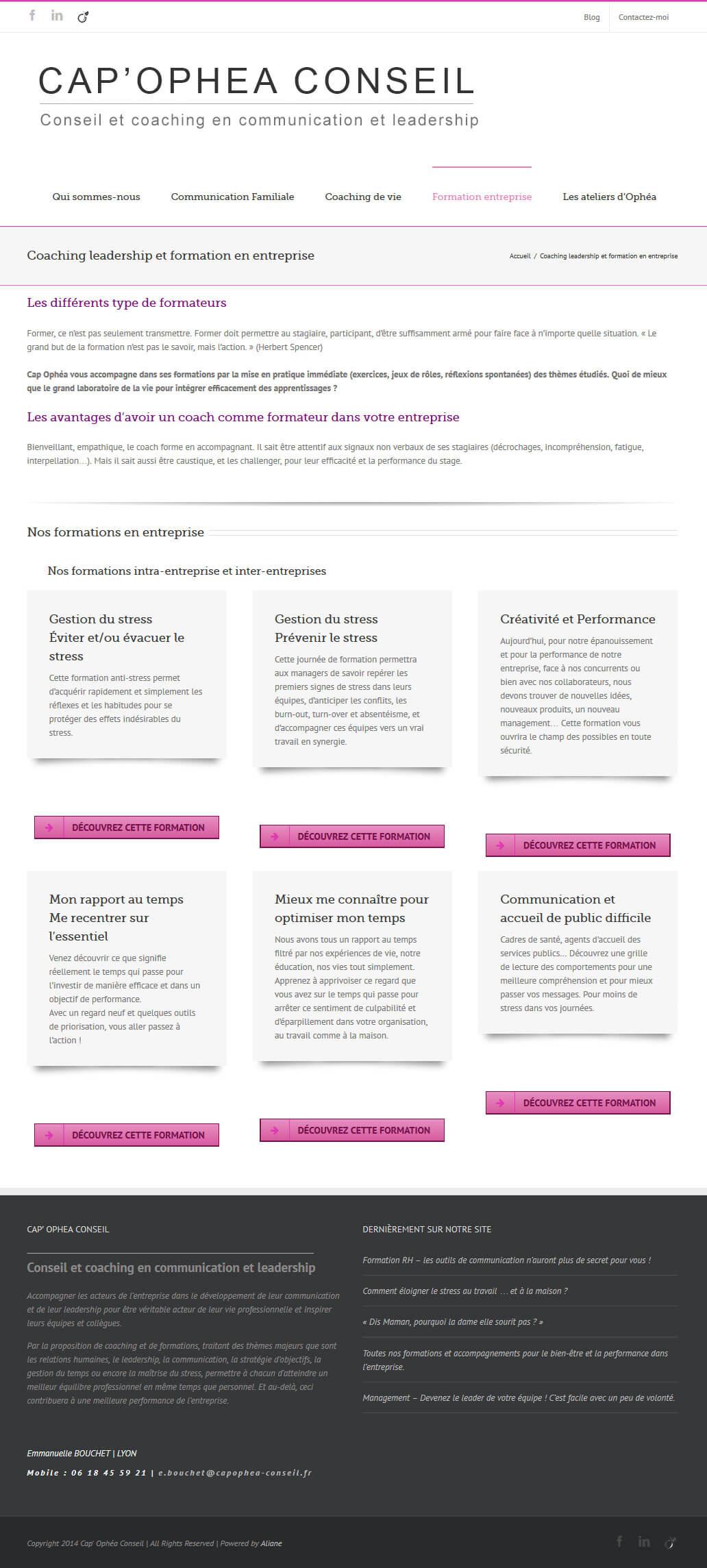 Création site internet LYON coach et coaching formation leadership entreprise