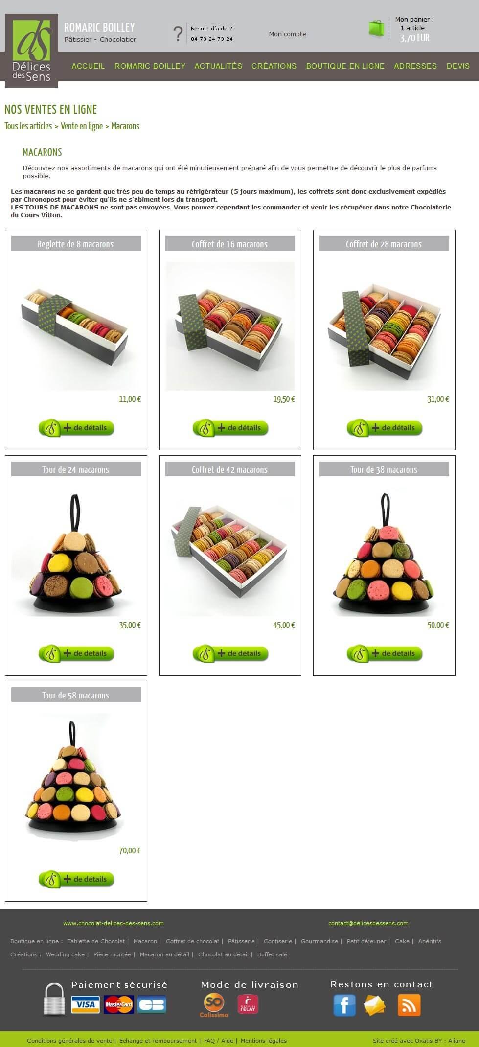 Création site e commerce vente en ligne chocolat Lyon 6