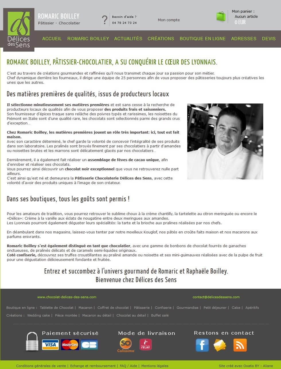 Création site e commerce vente en ligne Chocolat Lyon