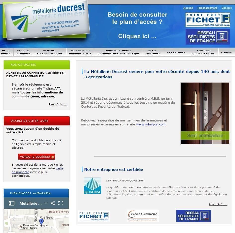 Création site internet LYON site vitrine métallerie ducrest 1