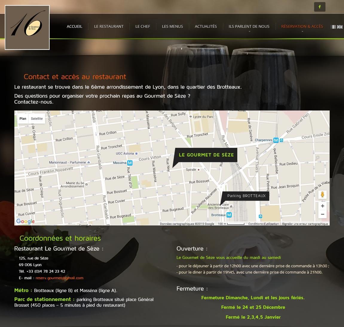 Création site internet LYON site vitrine restaurant gastronomique 1