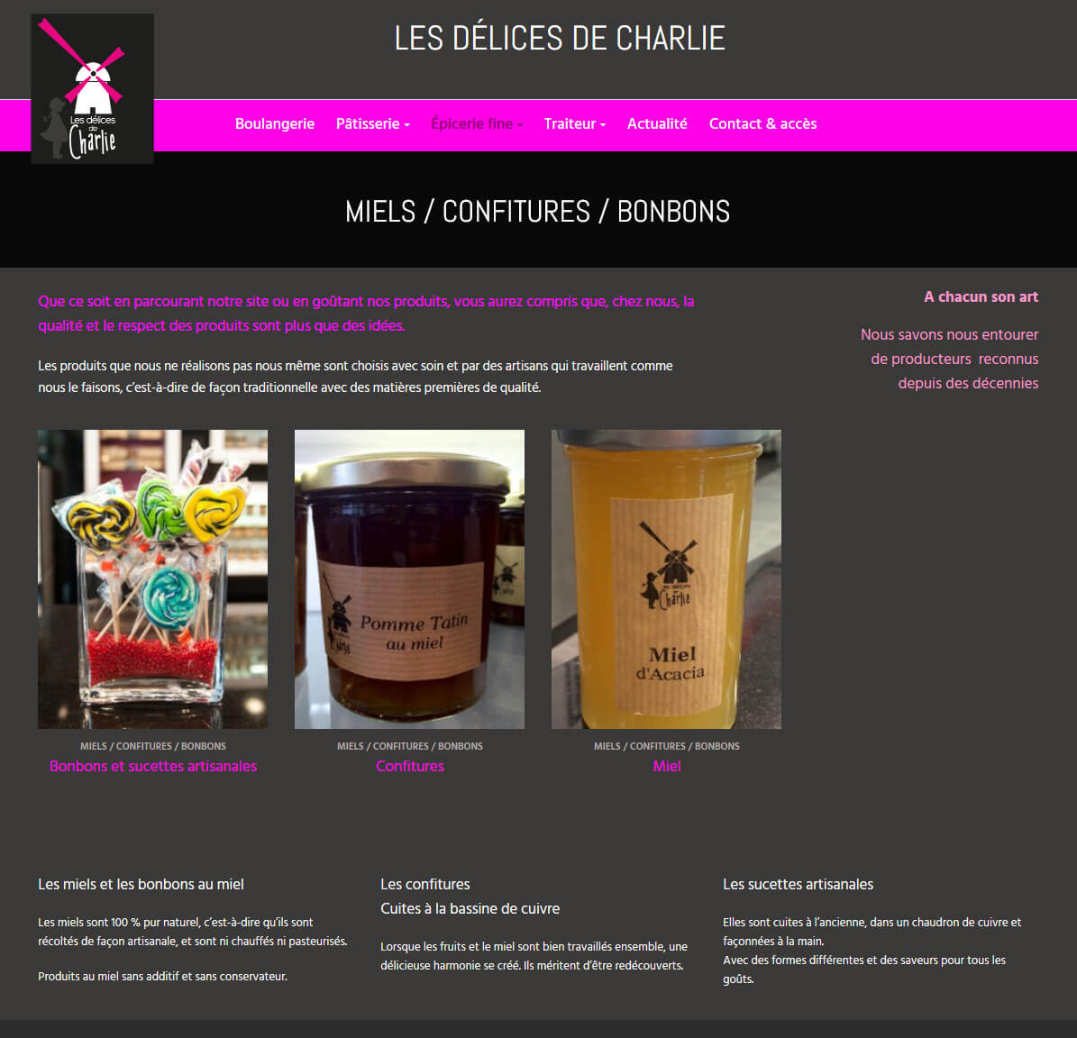 Création site internet vitrine LYON 6 Epicerie Délices de Charlie