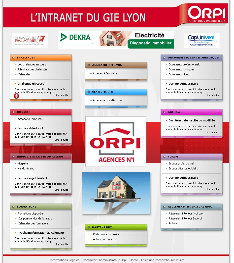 Création site intranet LYON Orpi accueil direction