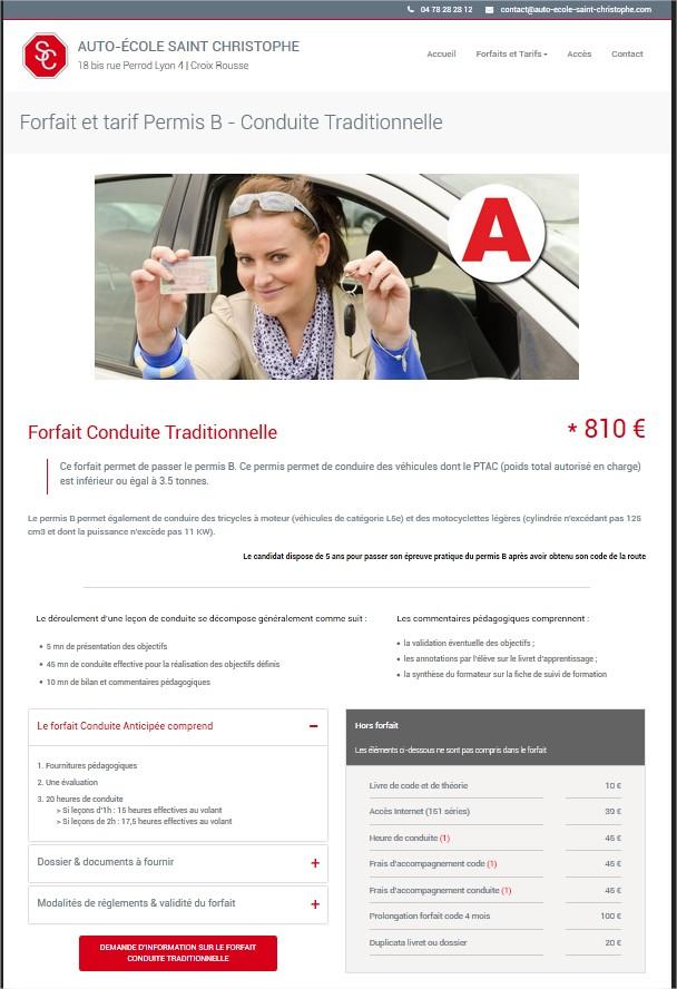 Création site internet auto école Lyon Croix Rousse | Forfait et tarif