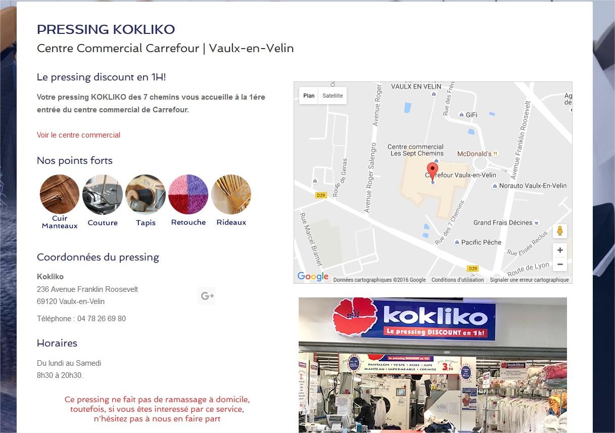 Création site Pressing discount 1H Vaulx-En-Velin Centre commercial Carrefour